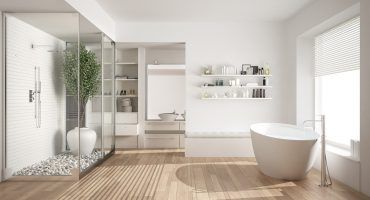 Hybrid flooring in bathroom
