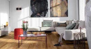 Living area with blackbutt flooring.